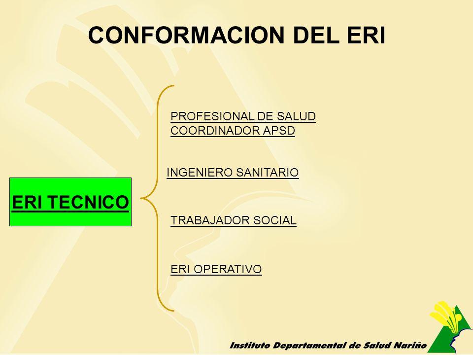 CONFORMACION DEL ERI ERI TECNICO PROFESIONAL DE SALUD COORDINADOR APSD INGENIERO SANITARIO TRABAJADOR SOCIAL ERI OPERATIVO