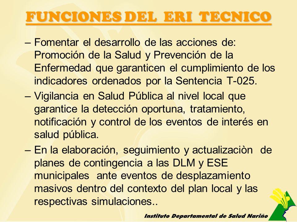 FUNCIONES DEL ERI TECNICO –Fomentar el desarrollo de las acciones de: Promoción de la Salud y Prevención de la Enfermedad que garanticen el cumplimien