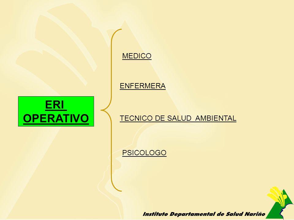 ERI OPERATIVO MEDICO TECNICO DE SALUD AMBIENTAL PSICOLOGO ENFERMERA