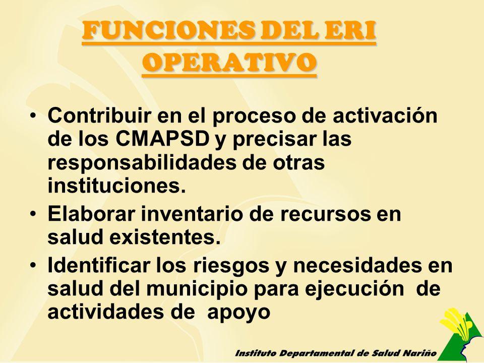 FUNCIONES DEL ERI OPERATIVO Contribuir en el proceso de activación de los CMAPSD y precisar las responsabilidades de otras instituciones. Elaborar inv