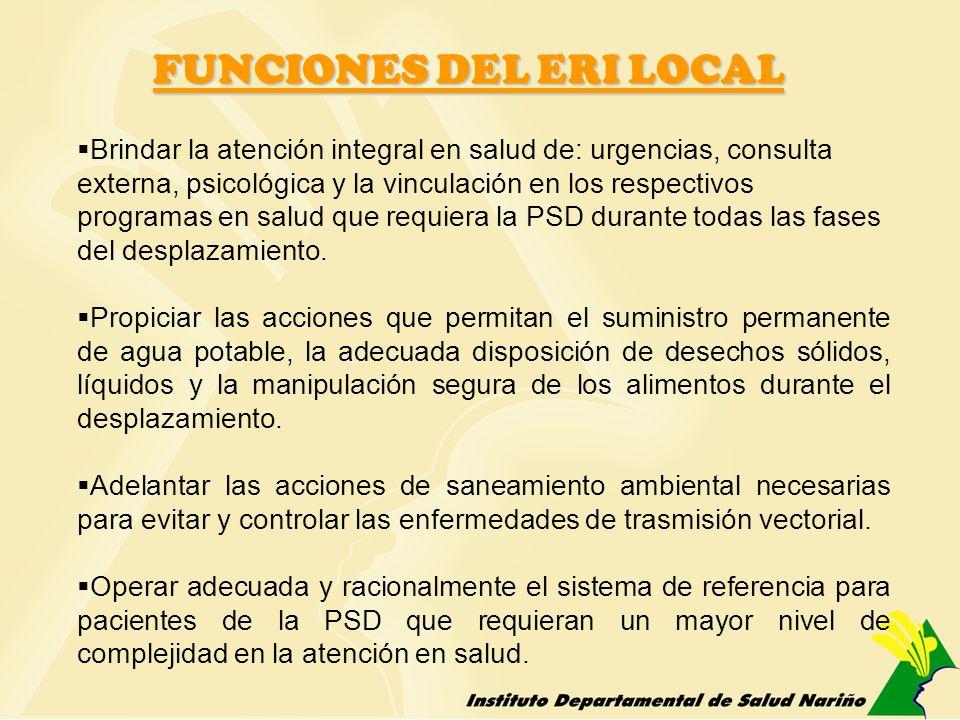 FUNCIONES DEL ERI LOCAL Brindar la atención integral en salud de: urgencias, consulta externa, psicológica y la vinculación en los respectivos program