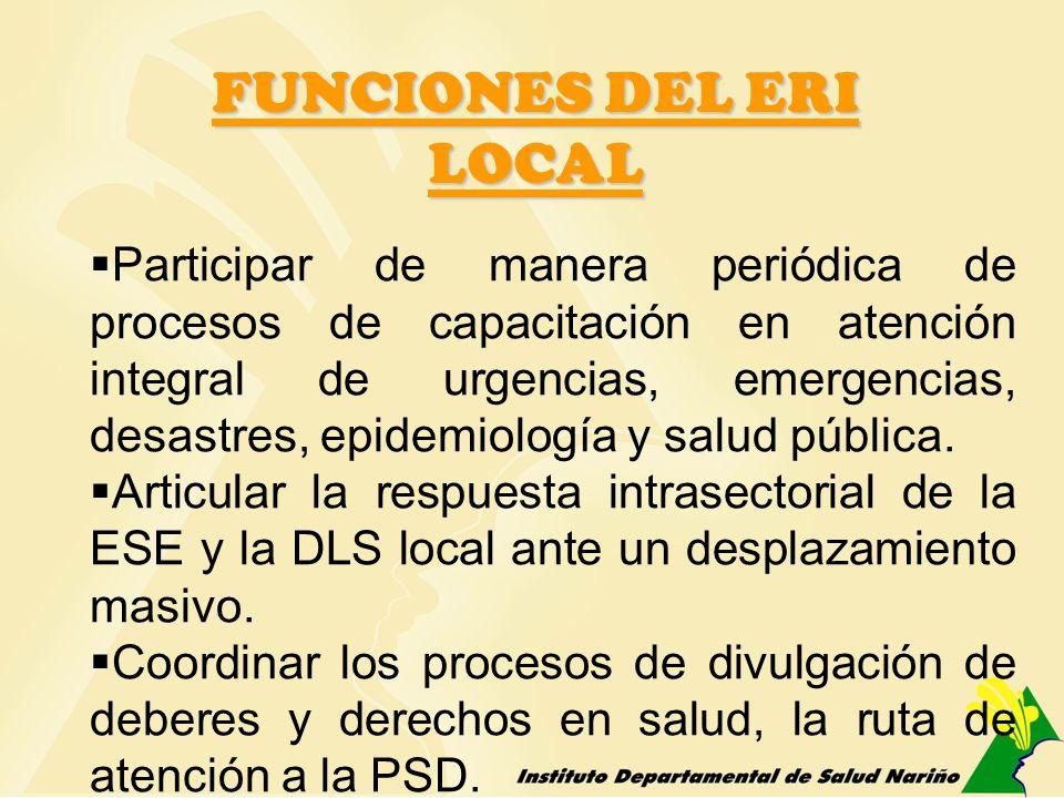 FUNCIONES DEL ERI LOCAL Participar de manera periódica de procesos de capacitación en atención integral de urgencias, emergencias, desastres, epidemio