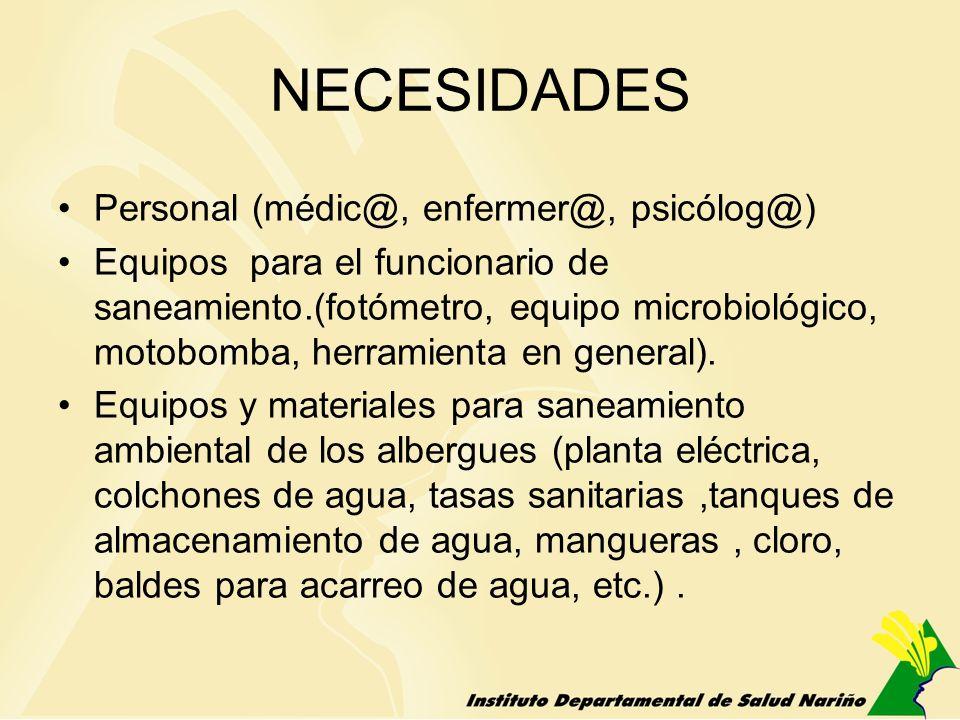 NECESIDADES Personal (médic@, enfermer@, psicólog@) Equipos para el funcionario de saneamiento.(fotómetro, equipo microbiológico, motobomba, herramien