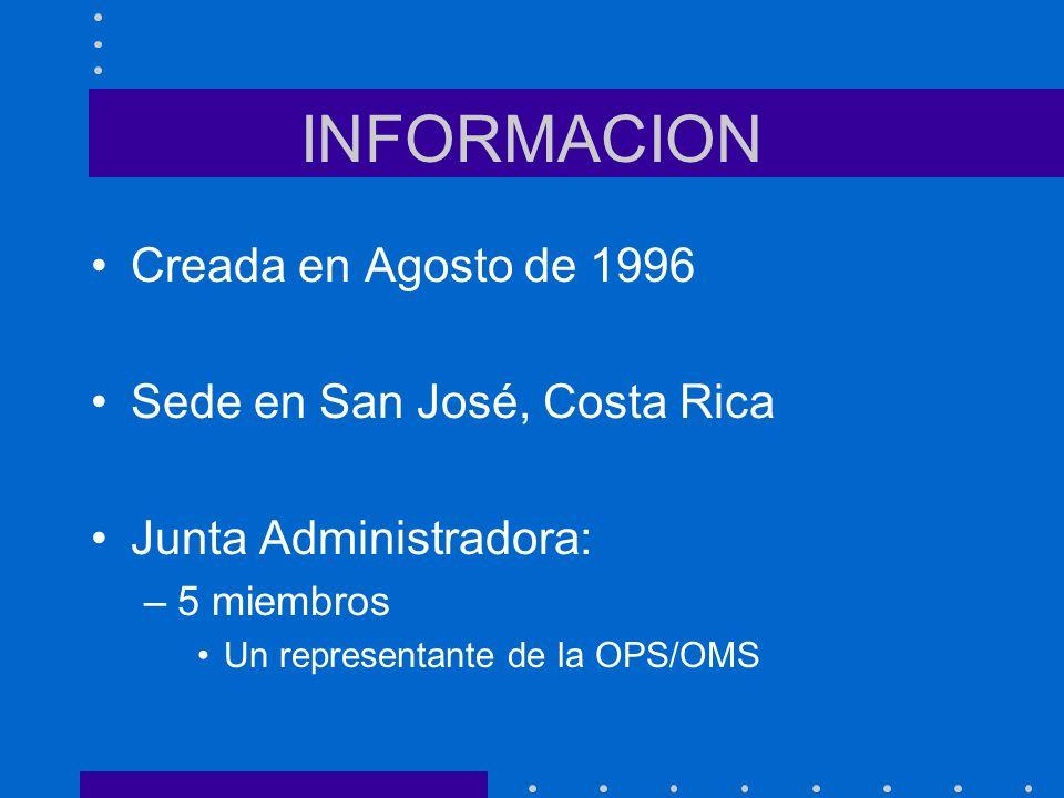 INFORMACION Creada en Agosto de 1996 Sede en San José, Costa Rica Junta Administradora: –5 miembros Un representante de la OPS/OMS
