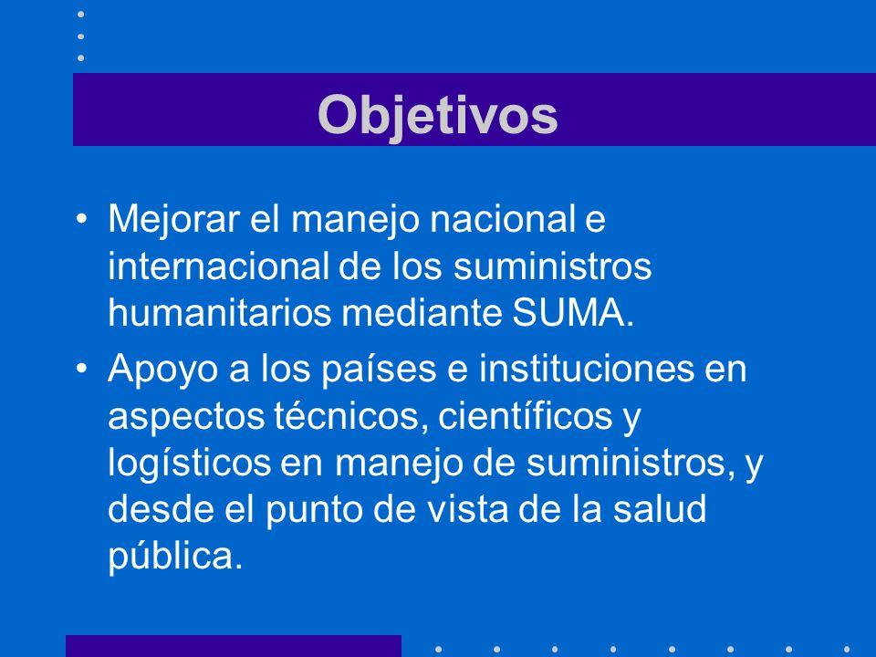 Objetivos Mejorar el manejo nacional e internacional de los suministros humanitarios mediante SUMA.