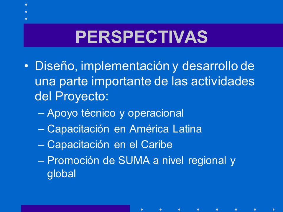 PERSPECTIVAS Diseño, implementación y desarrollo de una parte importante de las actividades del Proyecto: –Apoyo técnico y operacional –Capacitación en América Latina –Capacitación en el Caribe –Promoción de SUMA a nivel regional y global