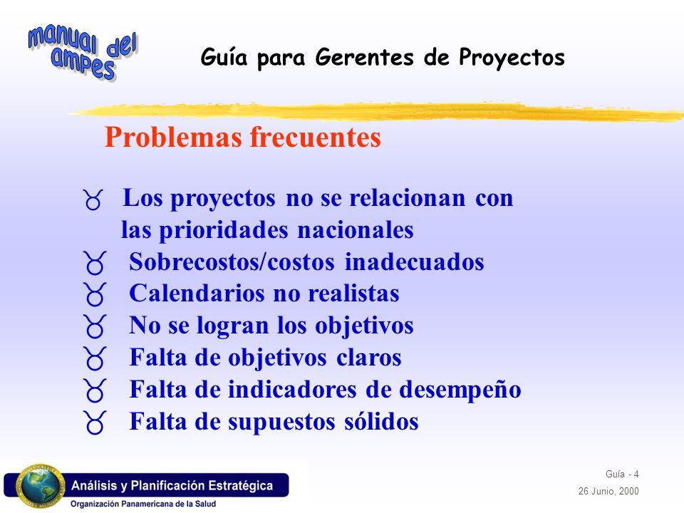 Guía para Gerentes de Proyectos Guía - 4 26 Junio, 2000 _ Los proyectos no se relacionan con las prioridades nacionales _ Sobrecostos/costos inadecuad