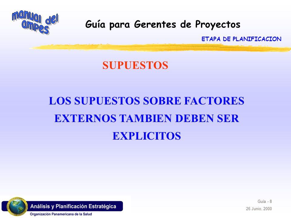 Guía para Gerentes de Proyectos Guía - 8 26 Junio, 2000 LOS SUPUESTOS SOBRE FACTORES EXTERNOS TAMBIEN DEBEN SER EXPLICITOS SUPUESTOS ETAPA DE PLANIFIC