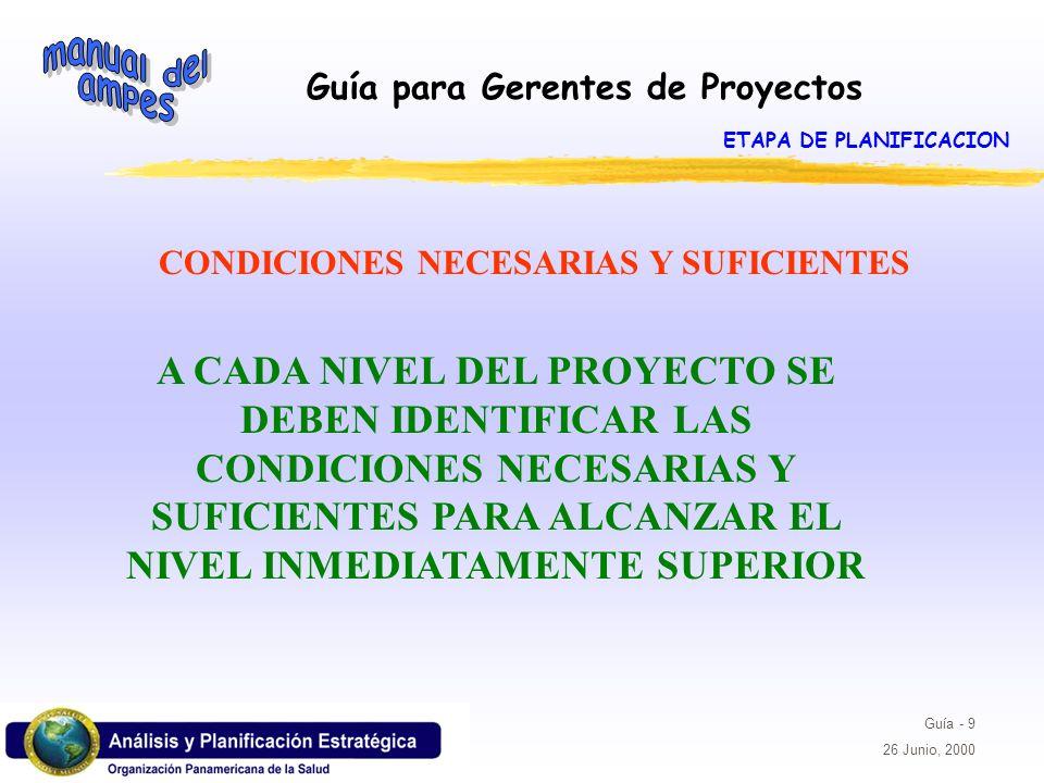 Guía para Gerentes de Proyectos Guía - 9 26 Junio, 2000 A CADA NIVEL DEL PROYECTO SE DEBEN IDENTIFICAR LAS CONDICIONES NECESARIAS Y SUFICIENTES PARA A