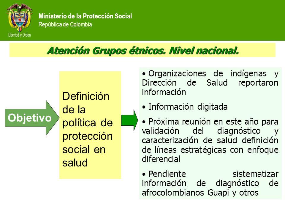 Ministerio de la Protección Social República de Colombia Atención Grupos étnicos. Nivel nacional. Definición de la política de protección social en sa
