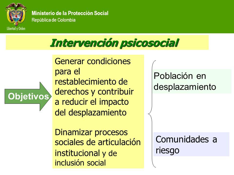 Ministerio de la Protección Social República de Colombia Intervención psicosocial Intervención psicosocial Generar condiciones para el restablecimient