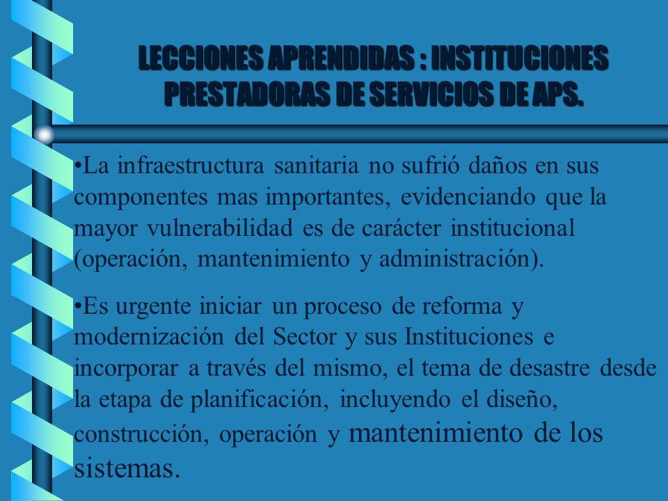 LECCIONES APRENDIDAS : INSTITUCIONES PRESTADORAS DE SERVICIOS DE APS. La infraestructura sanitaria no sufrió daños en sus componentes mas importantes,