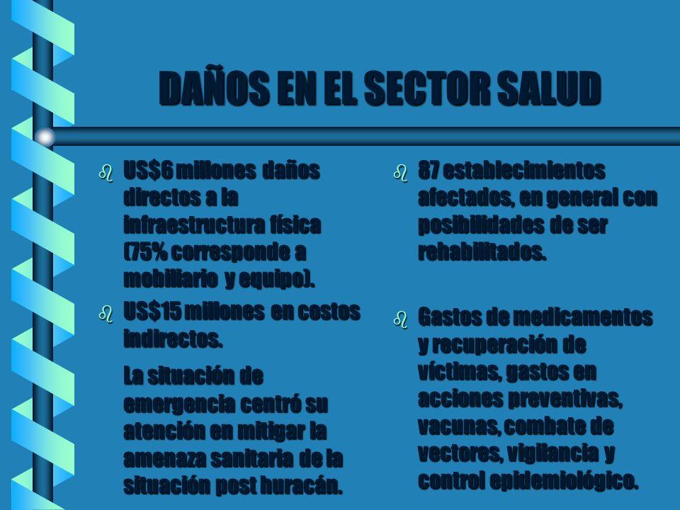 DAÑOS EN EL SECTOR SALUD b US$6 millones daños directos a la infraestructura física (75% corresponde a mobiliario y equipo). b US$15 millones en costo