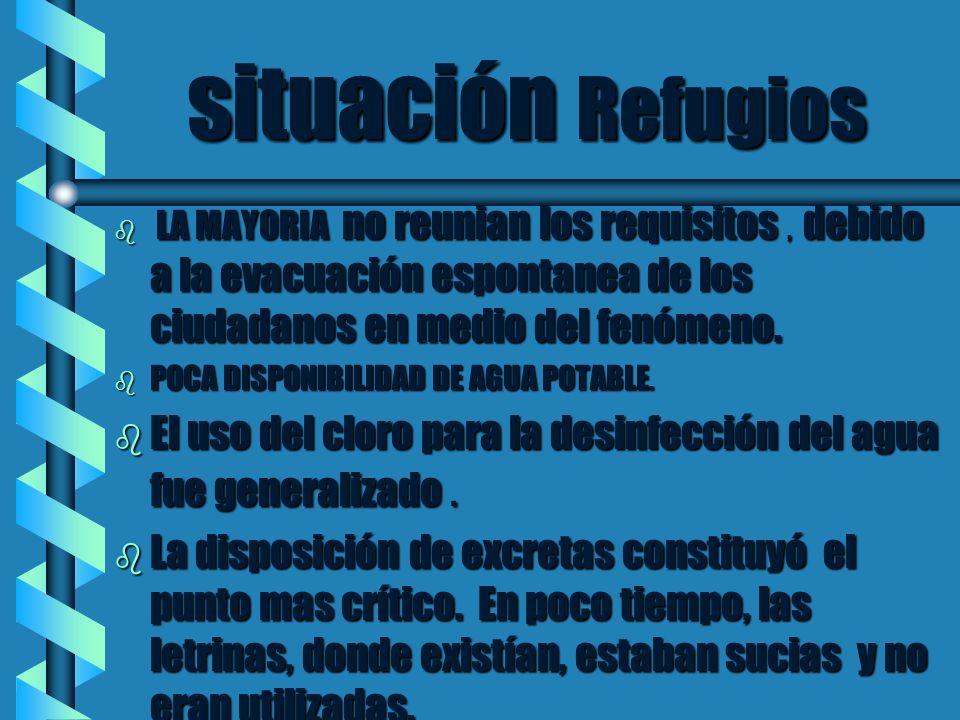 situación Refugios situación Refugios b LA MAYORIA no reunian los requisitos, debido a la evacuación espontanea de los ciudadanos en medio del fenómen
