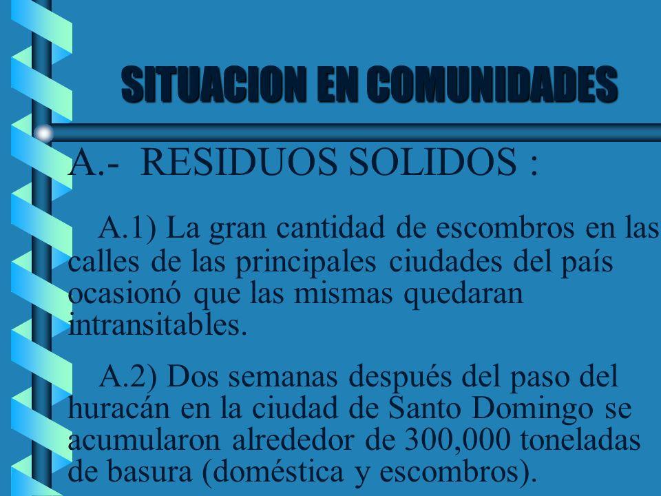 SITUACION EN COMUNIDADES A.- RESIDUOS SOLIDOS : A.1) La gran cantidad de escombros en las calles de las principales ciudades del país ocasionó que las