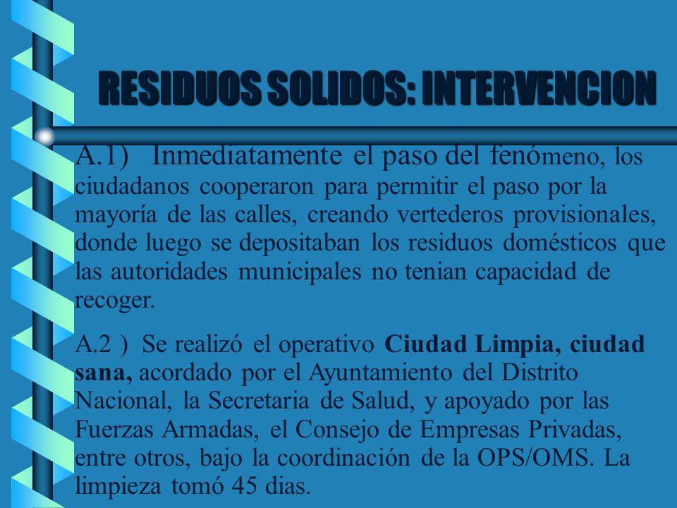 RESIDUOS SOLIDOS: INTERVENCION A.1) Inmediatamente el paso del fenó meno, los ciudadanos cooperaron para permitir el paso por la mayoría de las calles