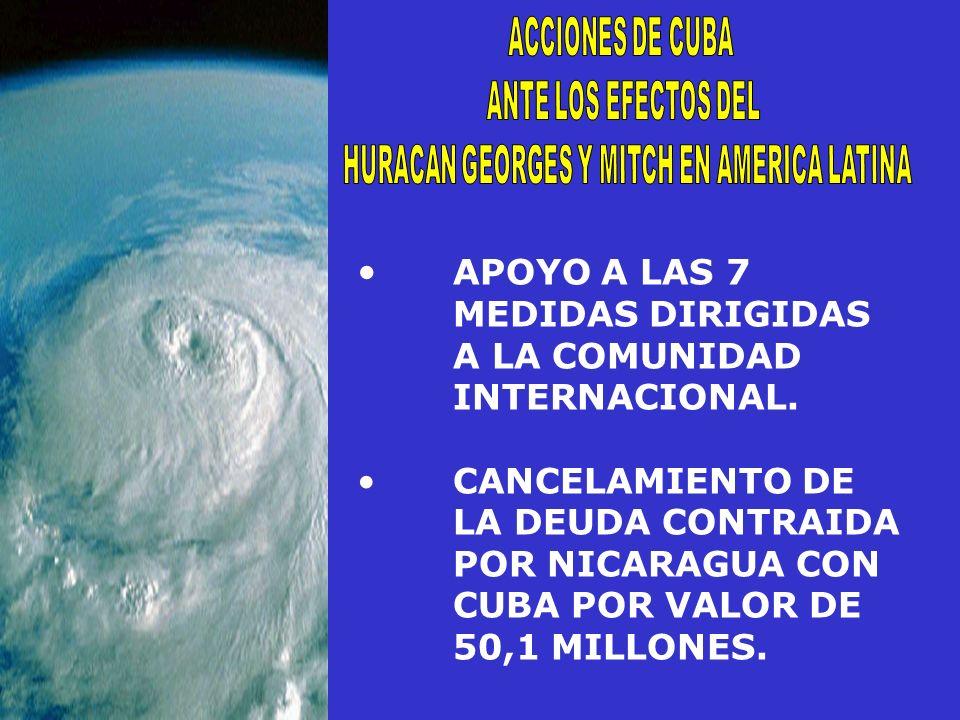 APOYO A LAS 7 MEDIDAS DIRIGIDAS A LA COMUNIDAD INTERNACIONAL. CANCELAMIENTO DE LA DEUDA CONTRAIDA POR NICARAGUA CON CUBA POR VALOR DE 50,1 MILLONES.