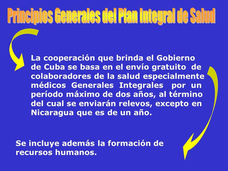Se incluye además la formación de recursos humanos. La cooperación que brinda el Gobierno de Cuba se basa en el envío gratuito de colaboradores de la