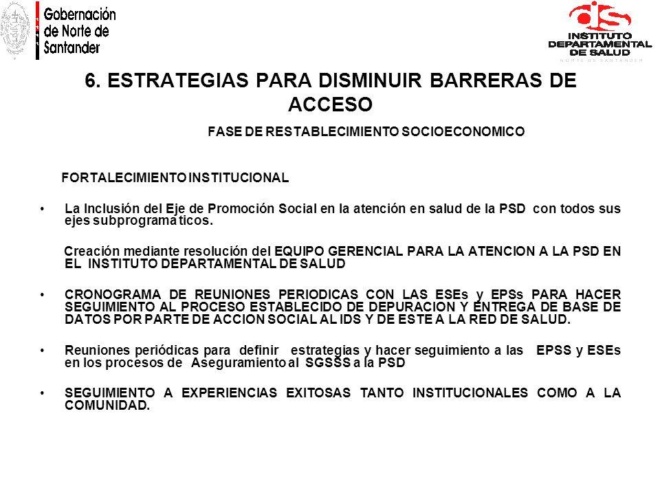 6. ESTRATEGIAS PARA DISMINUIR BARRERAS DE ACCESO FASE DE RESTABLECIMIENTO SOCIOECONOMICO FORTALECIMIENTO INSTITUCIONAL La Inclusión del Eje de Promoci