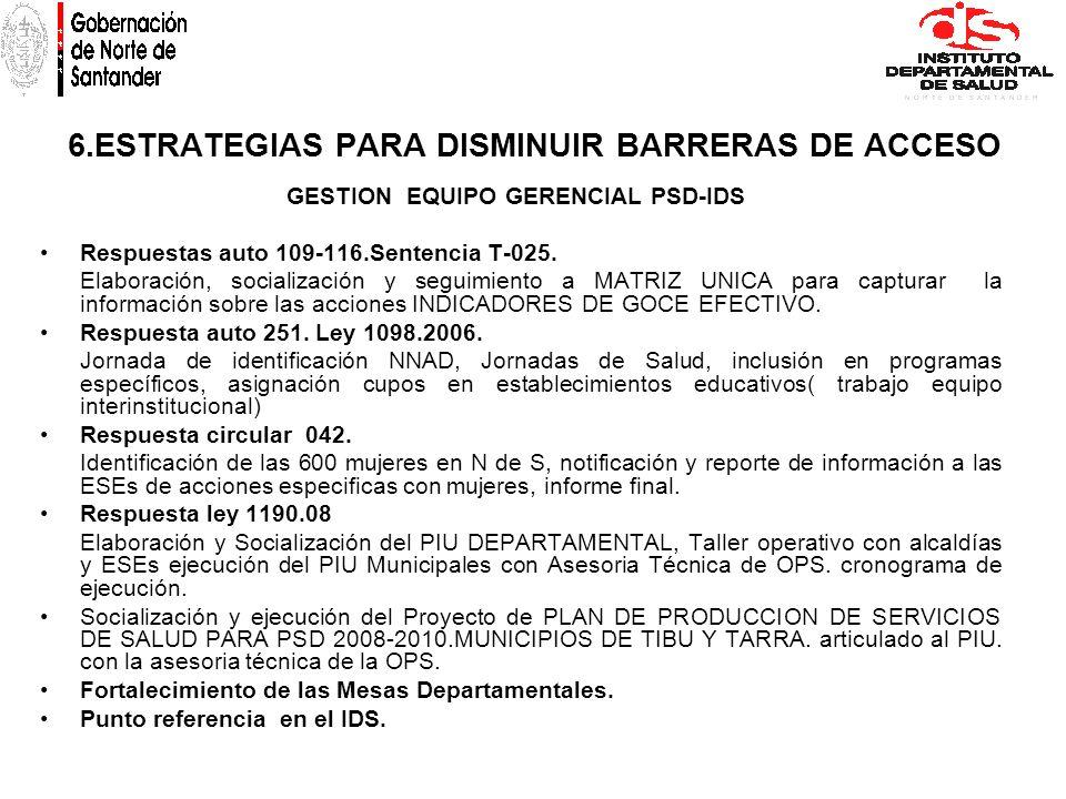 6.ESTRATEGIAS PARA DISMINUIR BARRERAS DE ACCESO GESTION EQUIPO GERENCIAL PSD-IDS Respuestas auto 109-116.Sentencia T-025. Elaboración, socialización y