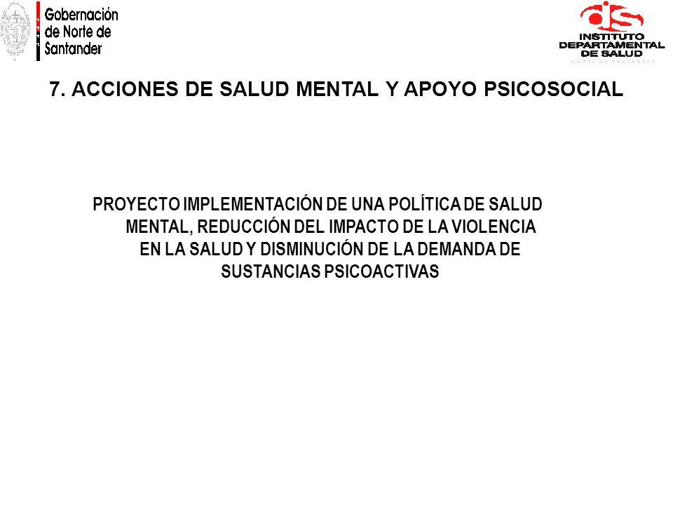 7. ACCIONES DE SALUD MENTAL Y APOYO PSICOSOCIAL PROYECTO IMPLEMENTACIÓN DE UNA POLÍTICA DE SALUD MENTAL, REDUCCIÓN DEL IMPACTO DE LA VIOLENCIA EN LA S