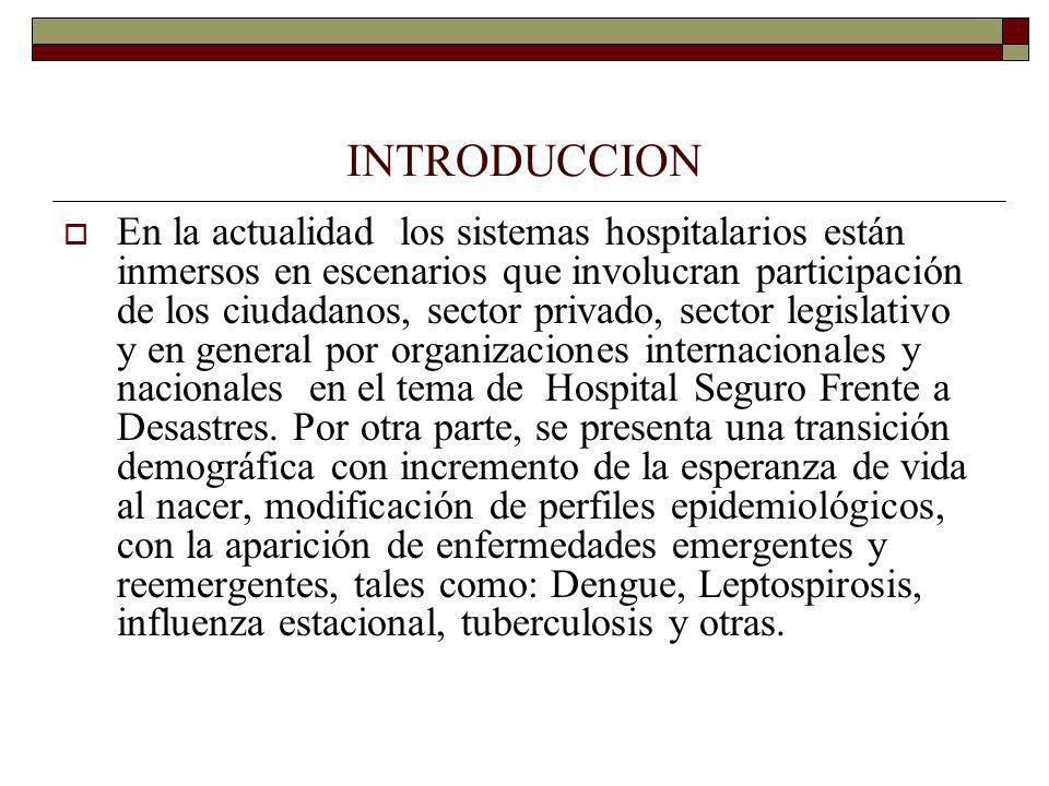 POSIBLES SOLUCIONES Implementar el instrumento internacional (OPS) de evaluación y categorización de hospitales seguros mediante un proyecto especifico local.