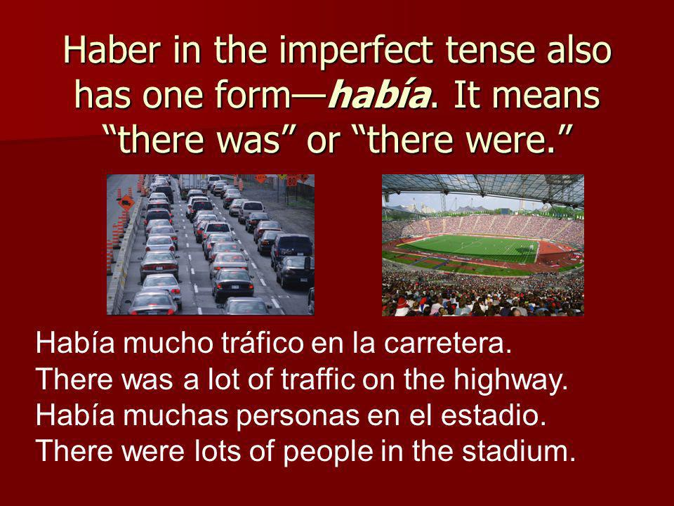 Haber in the imperfect tense also has one formhabía.