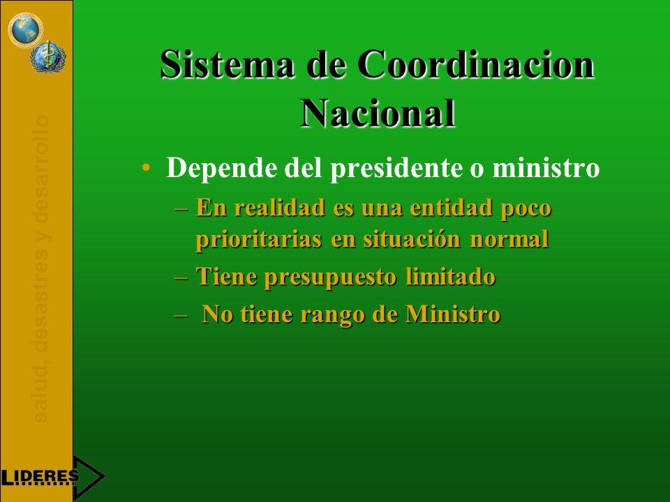 salud, desastres y desarrollo Sistema de Coordinacion Nacional Depende del presidente o ministro –En realidad es una entidad poco prioritarias en situ