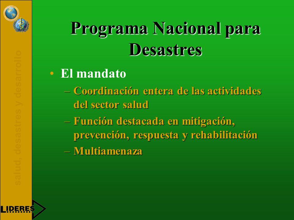 salud, desastres y desarrollo Programa Nacional para Desastres El mandato –Coordinación entera de las actividades del sector salud –Función destacada