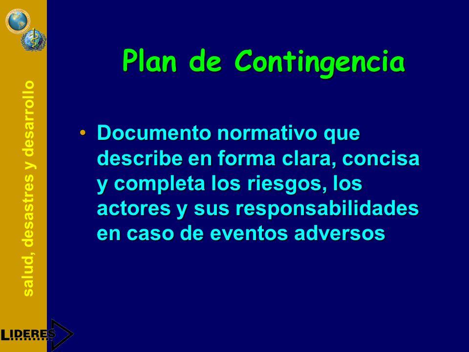 salud, desastres y desarrollo Preparativos PLAN CAPACITACIONRECURSOS