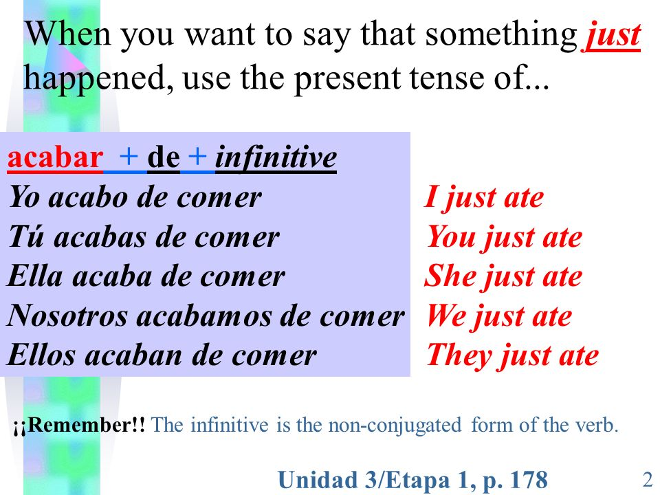 Unidad 3/Etapa 1, p. 178 2 When you want to say that something just happened, use the present tense of... acabar + de + infinitive Yo acabo de comer T