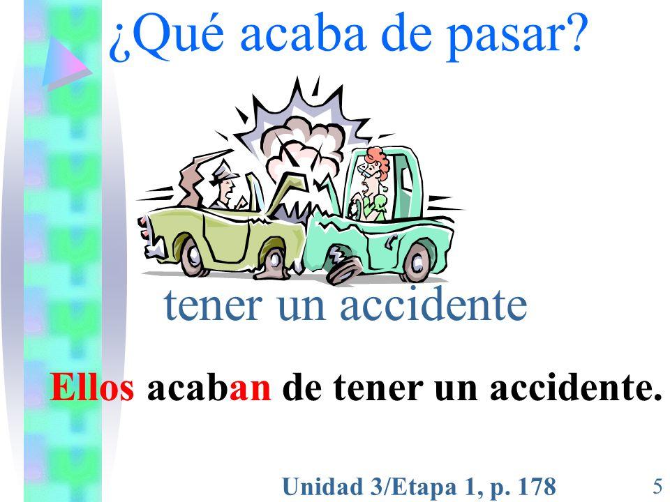 Unidad 3/Etapa 1, p. 178 5 ¿Qué acaba de pasar? tener un accidente Ellos acaban de tener un accidente.