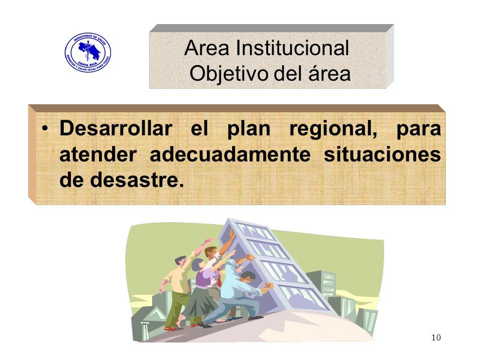 10 Area Institucional Objetivo del área Desarrollar el plan regional, para atender adecuadamente situaciones de desastre.