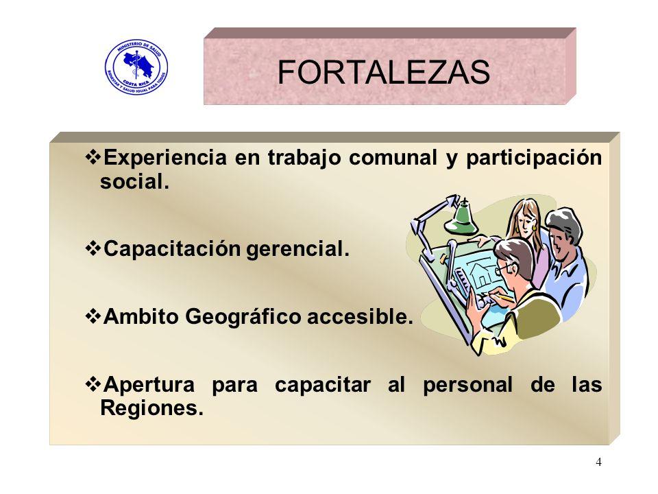 4 FORTALEZAS Experiencia en trabajo comunal y participación social. Capacitación gerencial. Ambito Geográfico accesible. Apertura para capacitar al pe