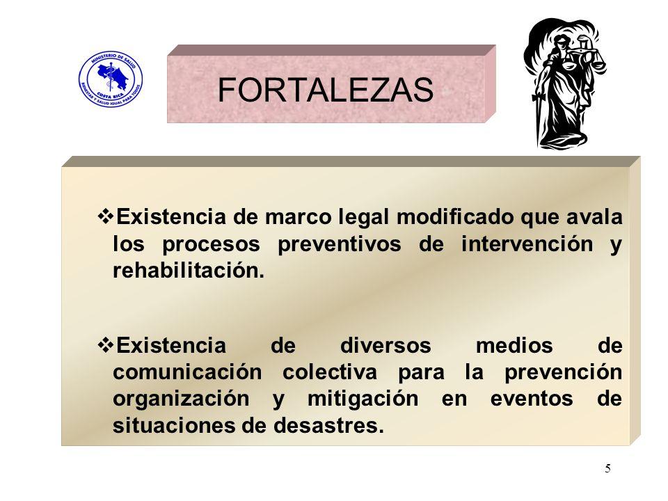 5 Existencia de marco legal modificado que avala los procesos preventivos de intervención y rehabilitación. Existencia de diversos medios de comunicac