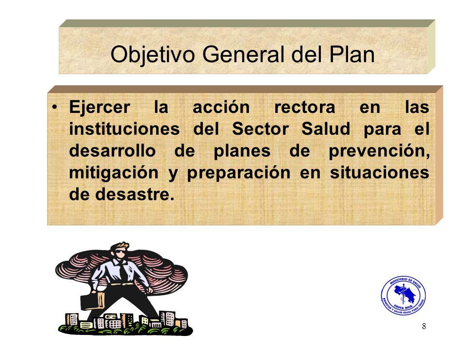 8 Objetivo General del Plan Ejercer la acción rectora en las instituciones del Sector Salud para el desarrollo de planes de prevención, mitigación y p