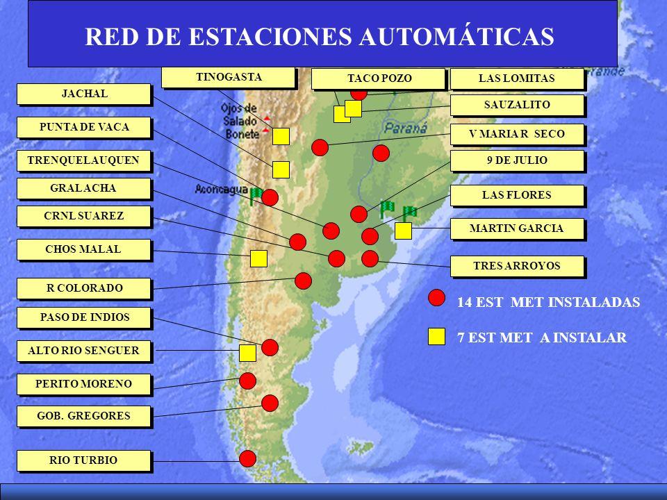 14 EST MET INSTALADAS 7 EST MET A INSTALAR RED DE ESTACIONES AUTOMÁTICAS JACHAL GOB. GREGORES TRES ARROYOS TRENQUELAUQUEN CHOS MALAL RIO TURBIO CRNL S