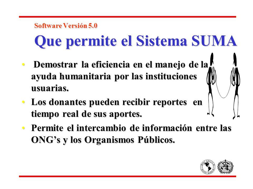 Software Versión 5.0 Que permite el Sistema SUMA Software Versión 5.0 Que permite el Sistema SUMA Demostrar la eficiencia en el manejo de la ayuda hum