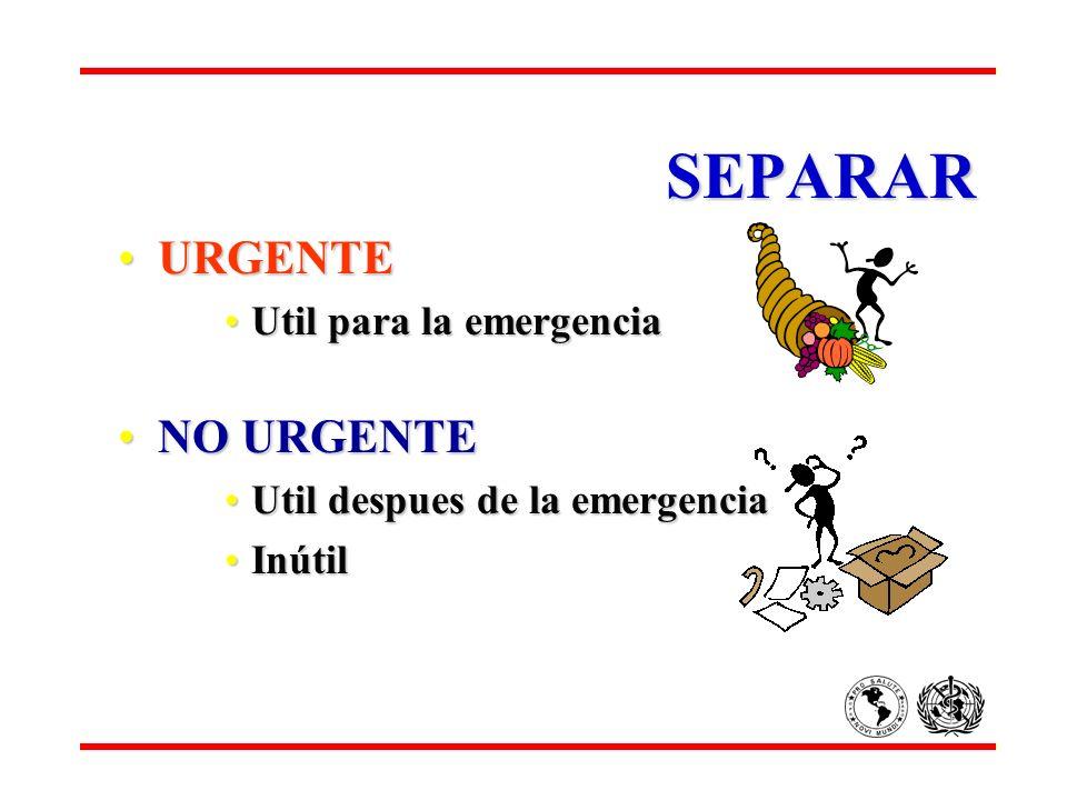 SEPARAR URGENTEURGENTE Util para la emergenciaUtil para la emergencia NO URGENTENO URGENTE Util despues de la emergenciaUtil despues de la emergencia
