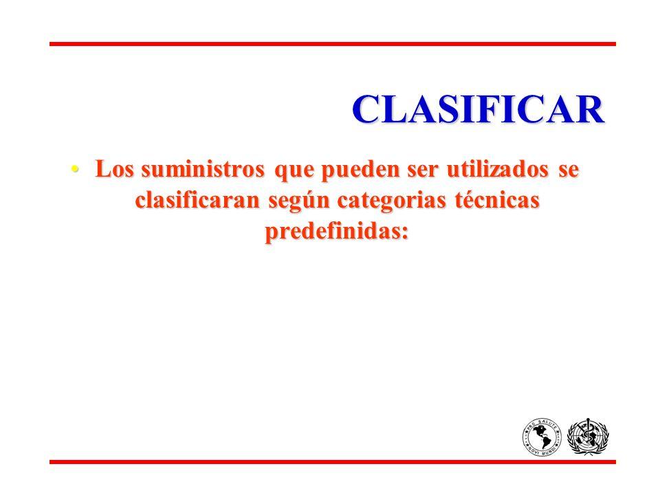 CLASIFICAR Los suministros que pueden ser utilizados se clasificaran según categorias técnicas predefinidas:Los suministros que pueden ser utilizados