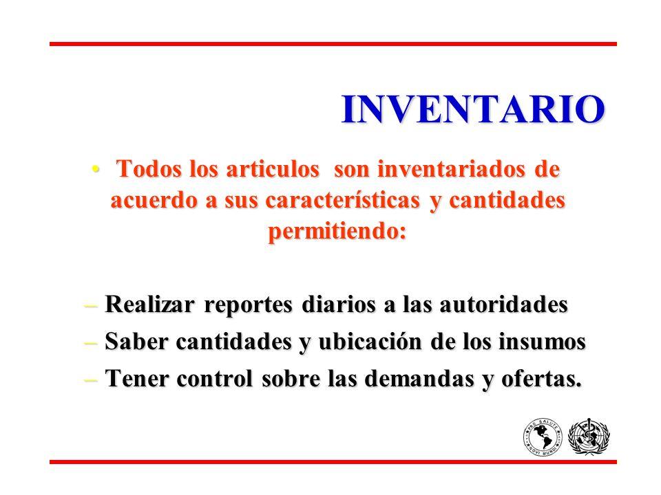 INVENTARIO Todos los articulos son inventariados de acuerdo a sus características y cantidades permitiendo:Todos los articulos son inventariados de ac