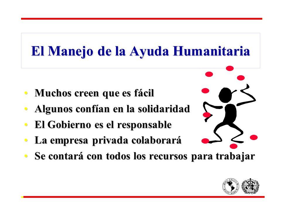 El Manejo de la Ayuda Humanitaria Muchos creen que es fácilMuchos creen que es fácil Algunos confían en la solidaridadAlgunos confían en la solidarida