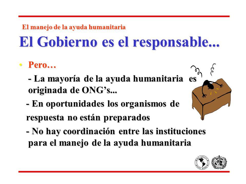 El manejo de la ayuda humanitaria El Gobierno es el responsable... El manejo de la ayuda humanitaria El Gobierno es el responsable... Pero…Pero… - La