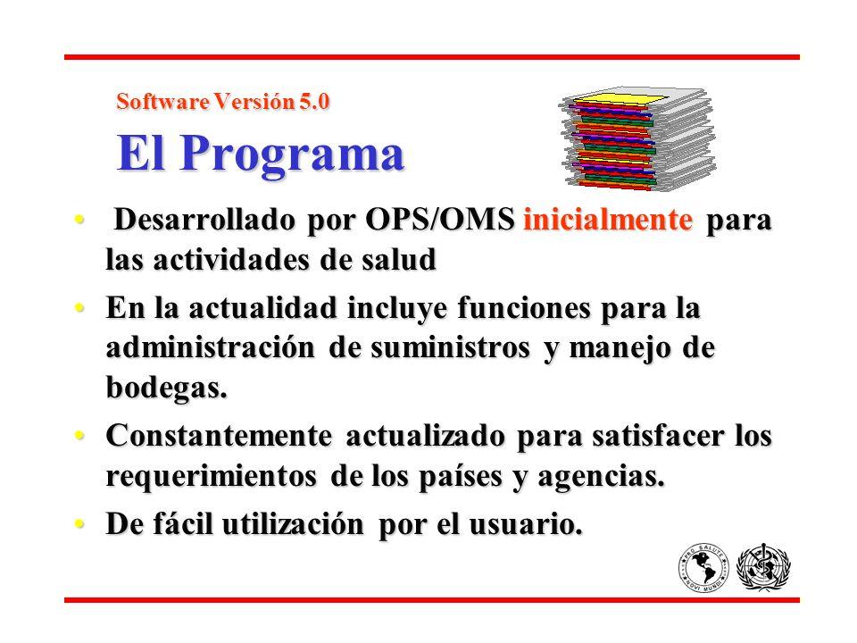 Software Versión 5.0 El Programa Software Versión 5.0 El Programa Desarrollado por OPS/OMS inicialmente para las actividades de salud Desarrollado por