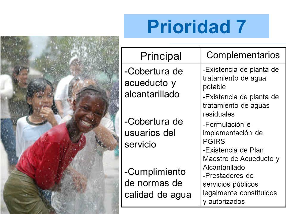 Prioridad 7 Principal Complementarios -Cobertura de acueducto y alcantarillado -Cobertura de usuarios del servicio -Cumplimiento de normas de calidad