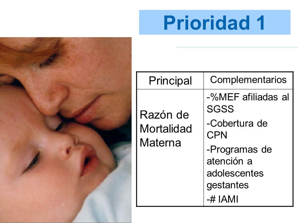 Prioridad 1 Principal Complementarios Razón de Mortalidad Materna -%MEF afiliadas al SGSS -Cobertura de CPN -Programas de atención a adolescentes gest