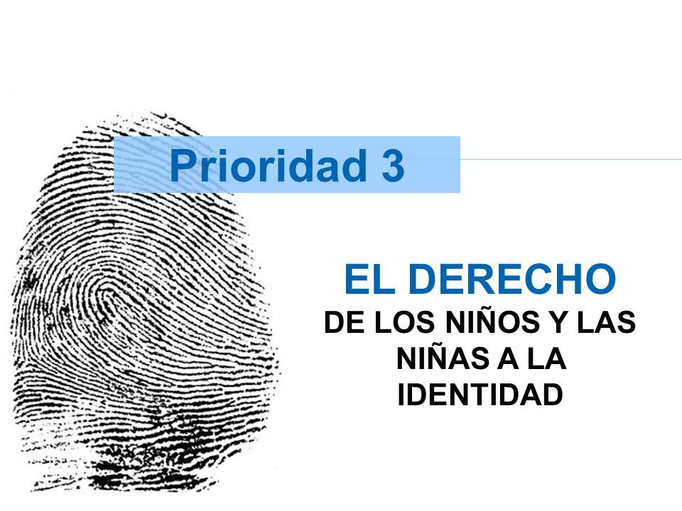 Prioridad 3 Principal Complementarios -Cobertura Registro civil < 5 años -% instituciones que atienden partos con oferta de registro civil -Cobertura de registro civil en menores de 1 año