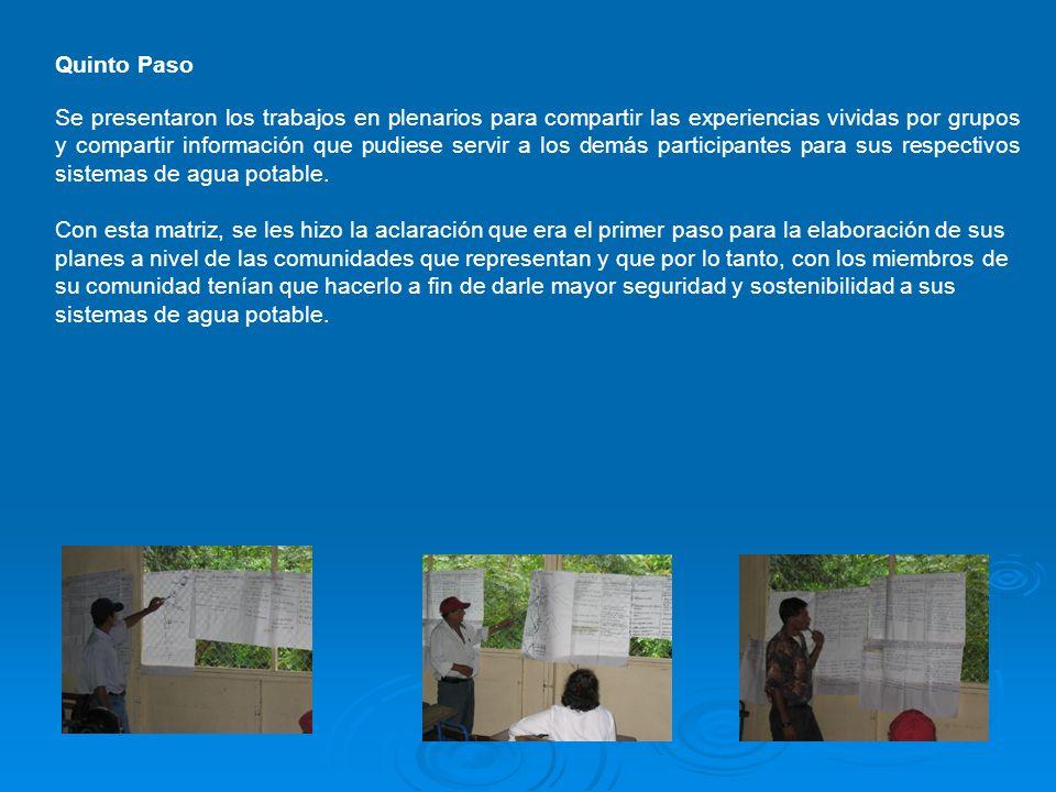 Quinto Paso Se presentaron los trabajos en plenarios para compartir las experiencias vividas por grupos y compartir información que pudiese servir a l