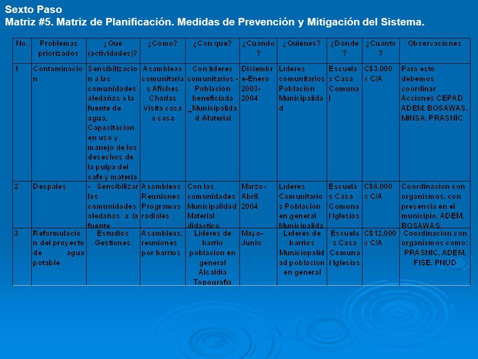 Sexto Paso Matriz #5. Matriz de Planificación. Medidas de Prevención y Mitigación del Sistema.