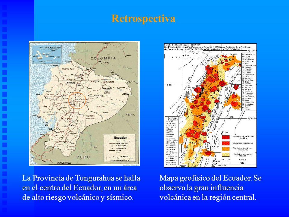 AREA DE RIESGO MAPA DE RIESGO En esta ampliación que representa 10.000 Km2 se muestra la zona de riesgo de la erupción del Tungurahua.